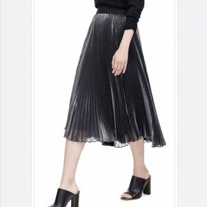 Rebecca Taylor Metallic Silver Pleated Midi Skirt